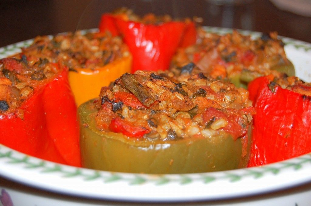 Vegetable and Brown Rice Stuffed Peppers