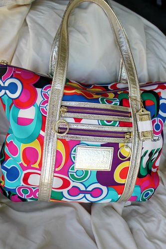 106b6bff917 I can't wait to receive my new coach purse! =) COACH Signature Poppy Pop C  Glam Tote Multi Color Handbag Purse