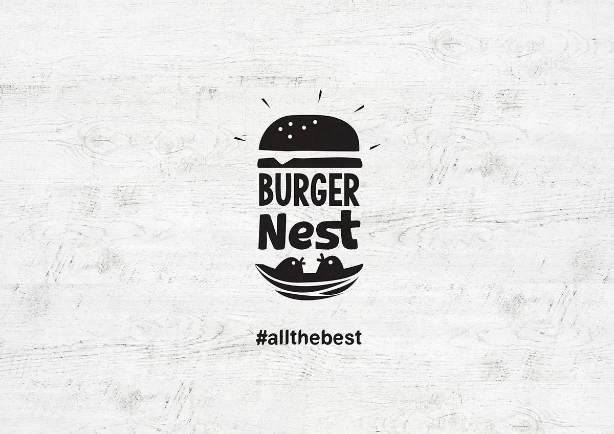 Burger Nest Logo, tagline, visual identity and packaging