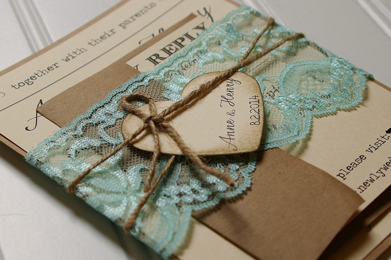 Rustic Wedding Invitations: Unique Boxed Lace and by AnnaLouAvenue