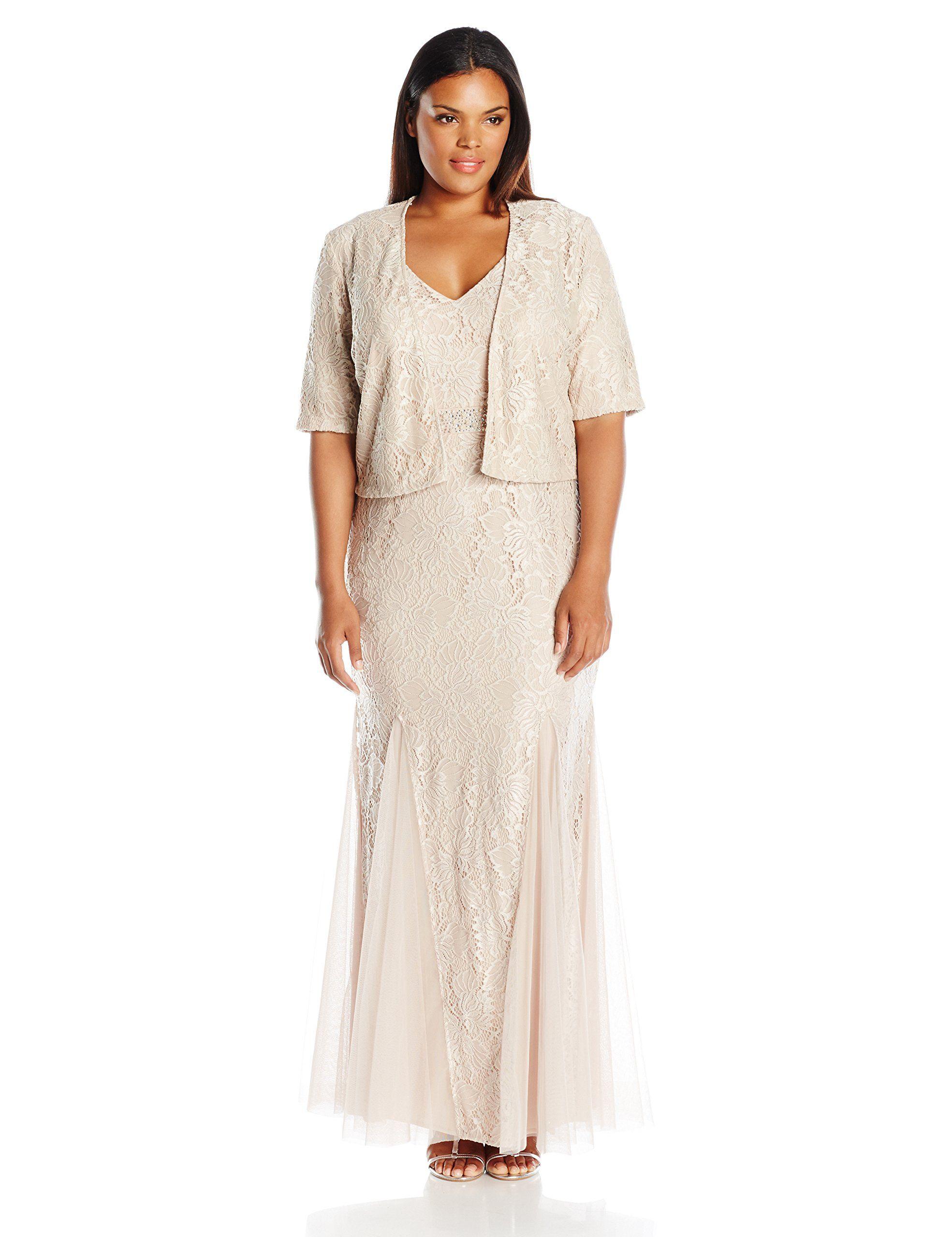 Alex evenings womenus plus size long lace jacket dress with