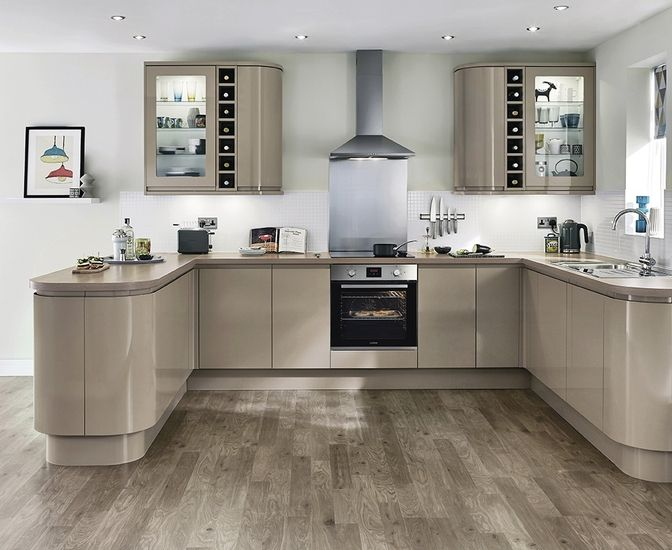 the clerkenwell gloss stone kitchen features stone slab doors with integrated linear pull handle - Stone Slab Kitchen Decor
