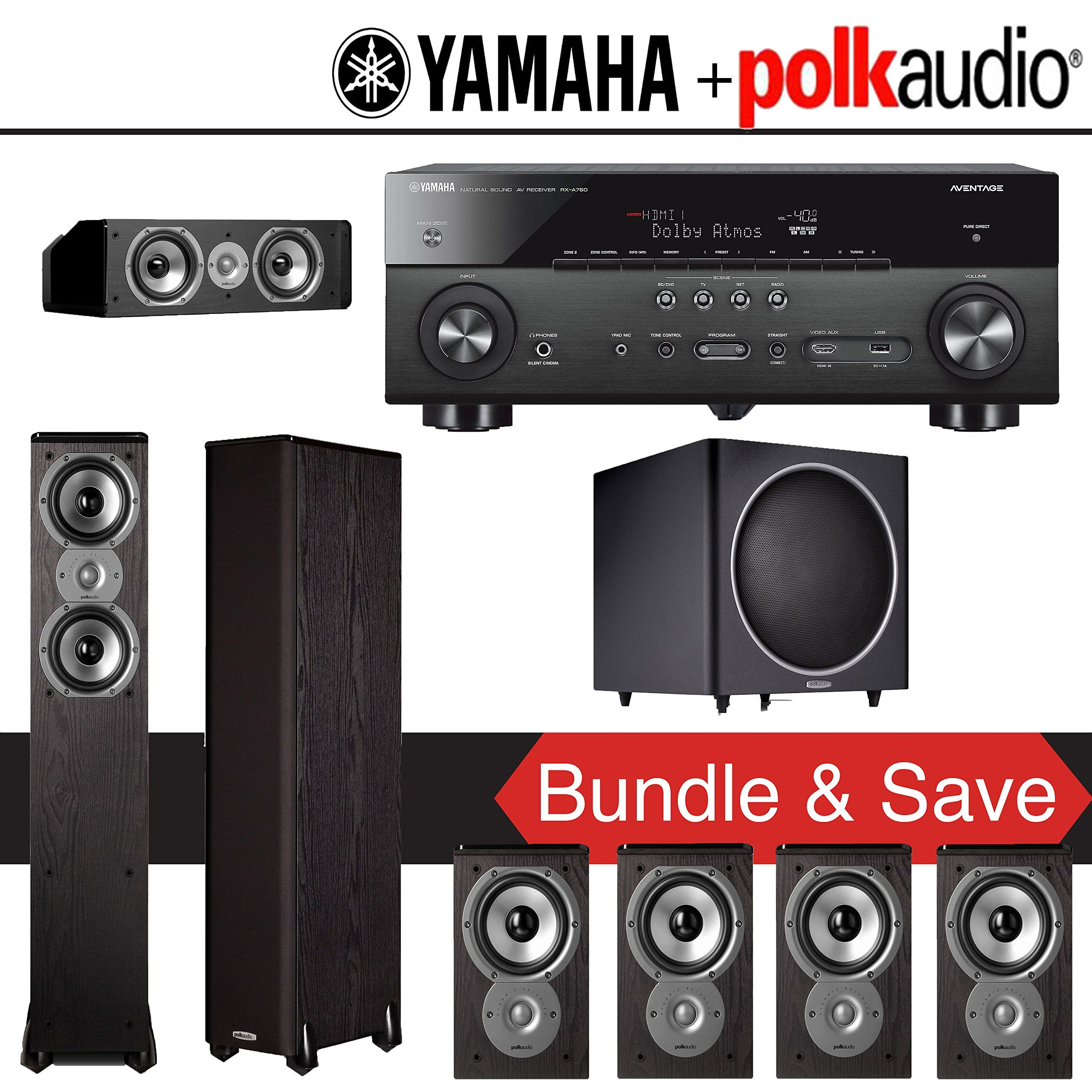 Polk Audio TSi 300 7.1-Ch Home Theater System with Yamaha AVENTAGE ...