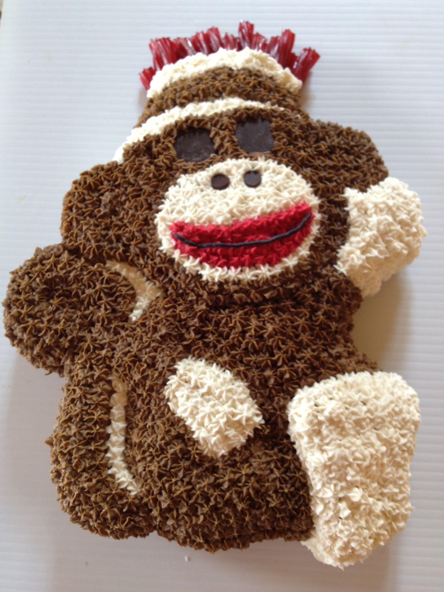 Sock Monkey Birthday Cake But Actually Cupcakes