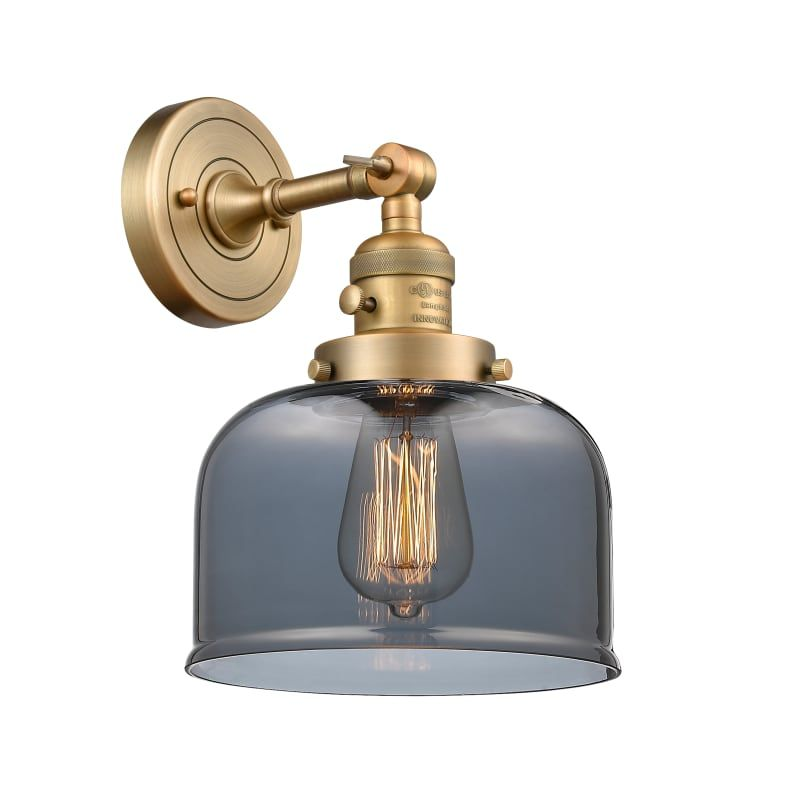 """Photo of Innovations Lighting 203SW Large Bell Large Bell Single Light 12 """"Tall Bathroom Brushed Brass / Plated Smoked Indoor Lighting Bathroom Faucets"""