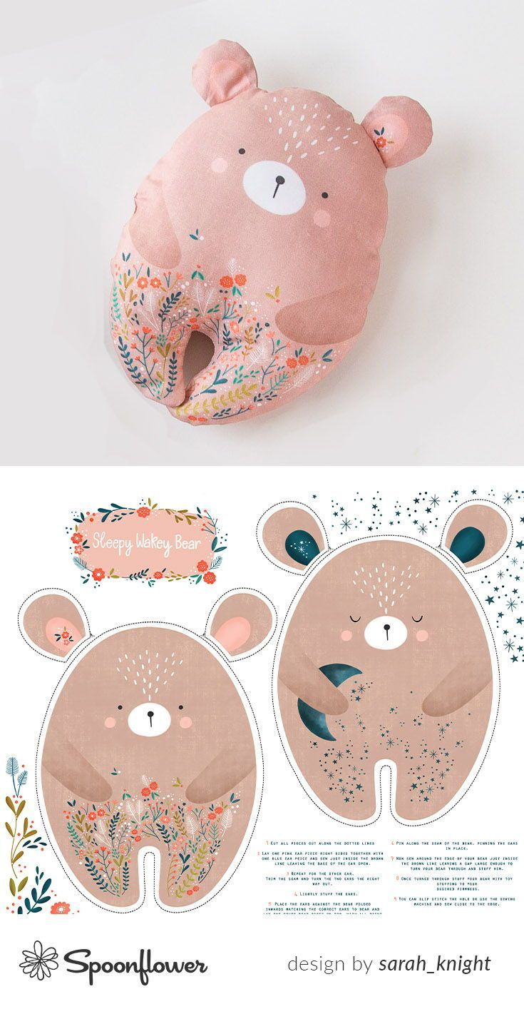 Bunte Stoffe, digital gedruckt von Spoonflower – Sleepy Wakey Bear DIY Fat Quarter