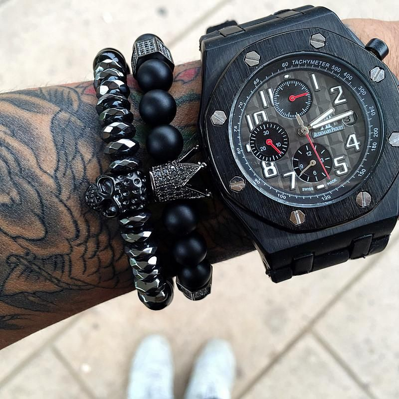 Unique Titanium Black Skull King Crown And Onyx Natural Stone Beaded Bracelets Wristbands