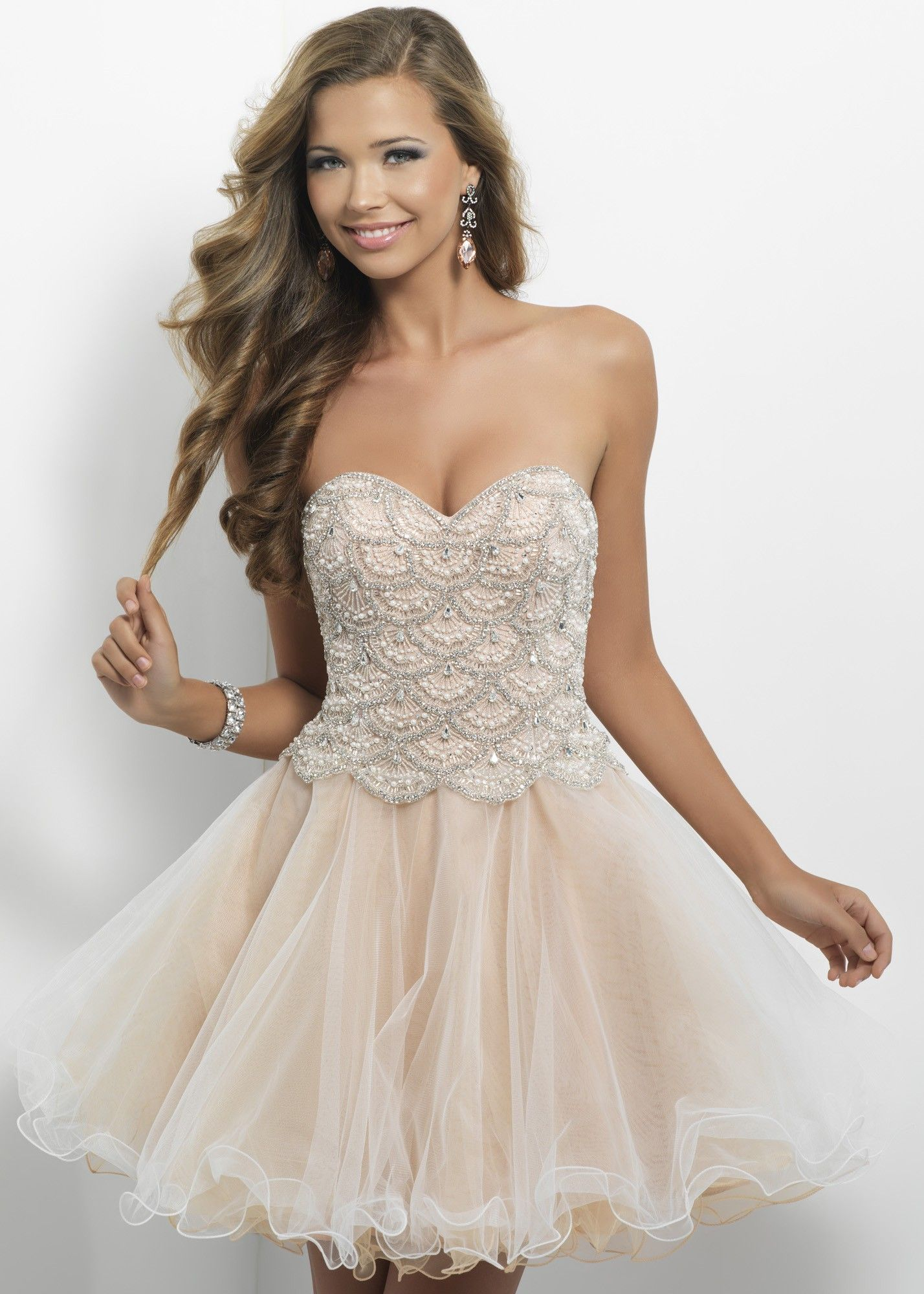 Elegant beaded champagne cocktail dress blush prom