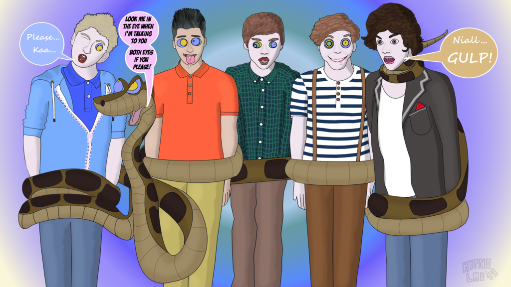 Kaa From Jungle Book Hypnotizing One Direction    by