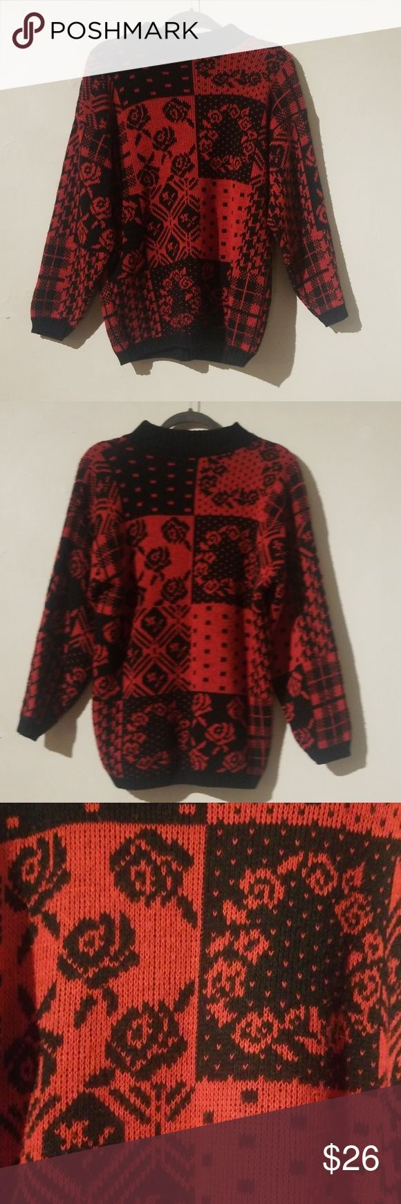 Vintage 90s Separate Issue Rose And Vine Sweater 80s Or 90s Vintage In Great Vi 2019 Vintage Sweaters Sweaters Vintage