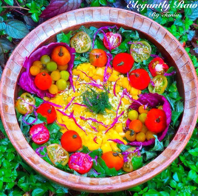 "Dynamic Orange Tomato Dressing Video Raw Vegan Recipe: Tomato Rainbow Salad With An Exceptional Herby Mango ""Rice"