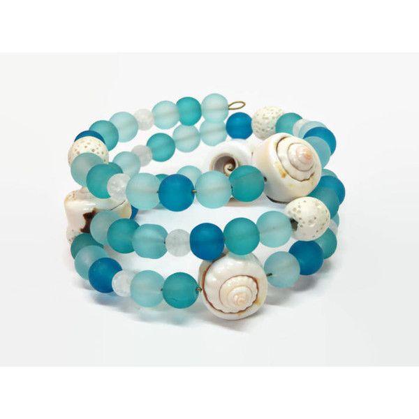Turquoise Beach Wrap Bracelet, Blue Boho Beach Memory Wire Bracelet ...
