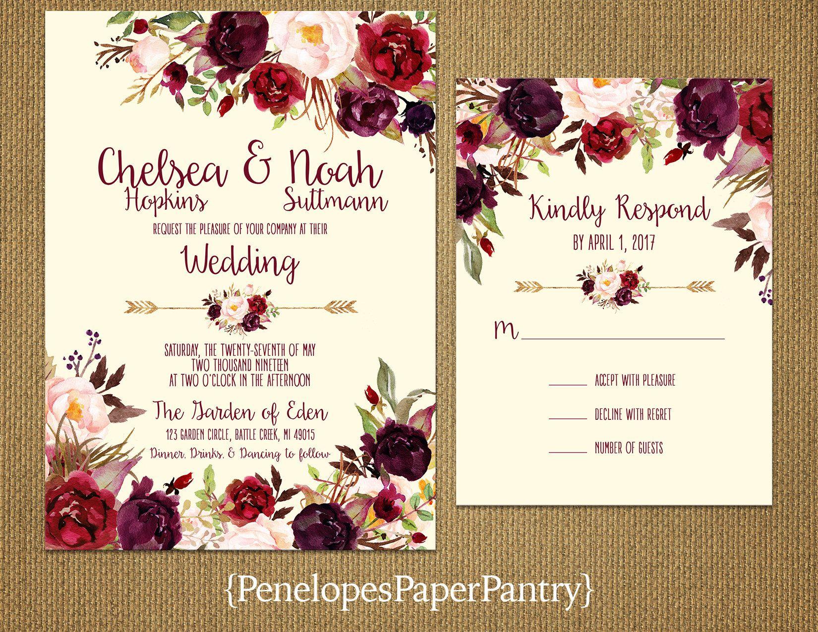 Romantic Ivory Fall Wedding Invitation,Burgundy,Marsala,Blush,Roses ...