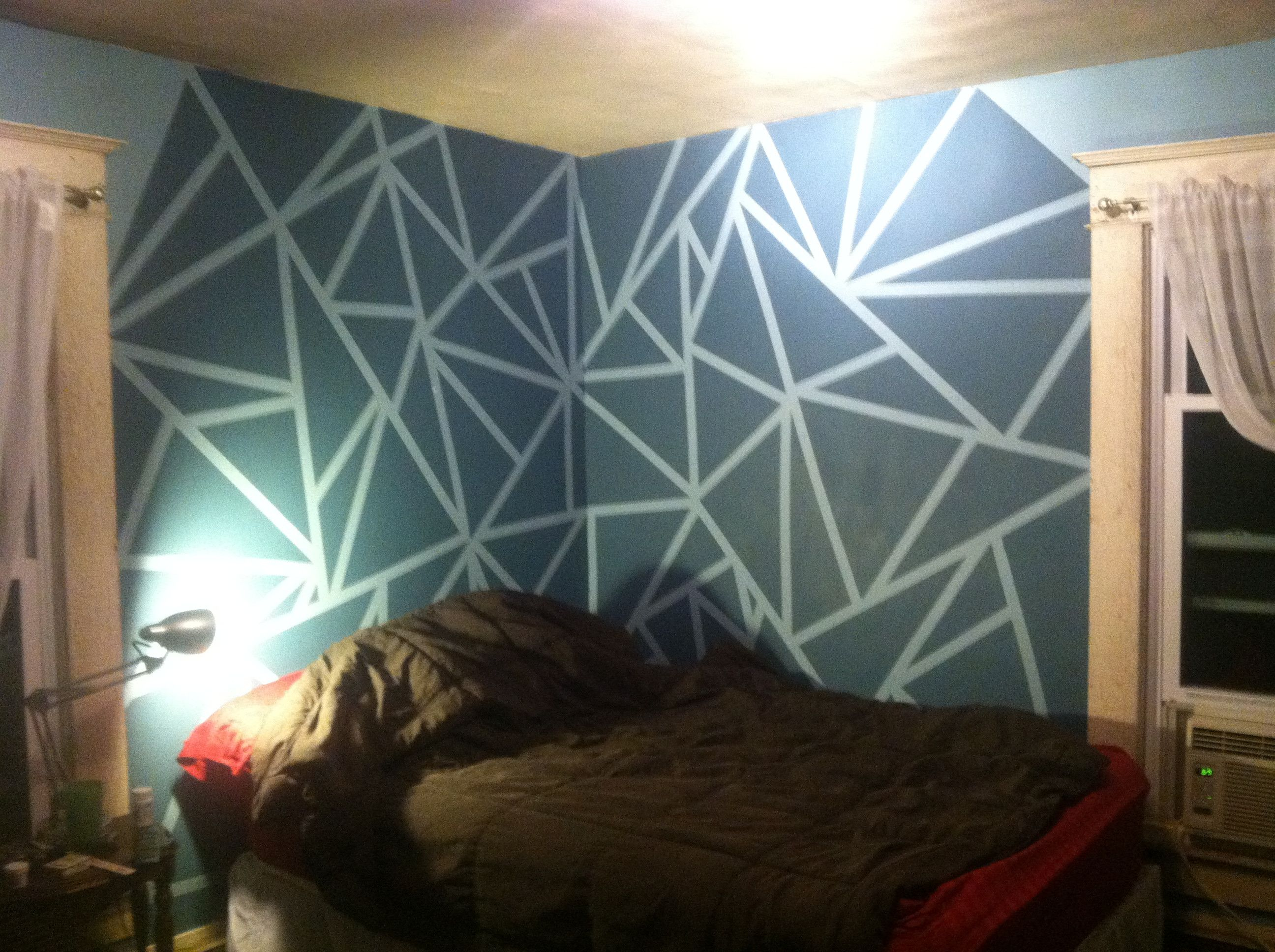 Day 4 Paint Dried And Tape Removed Dimensional Wall Decor Interior Design Living Room Wall Painting