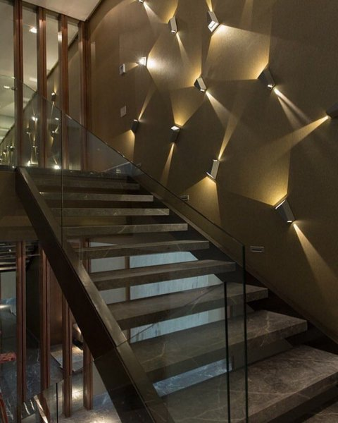 Reverse Angel Modern Wall Lights From One Direction To Other In | Interior Design Staircase Wall | Luxurious Home | Unique | Beautiful | Fancy | Building Interior