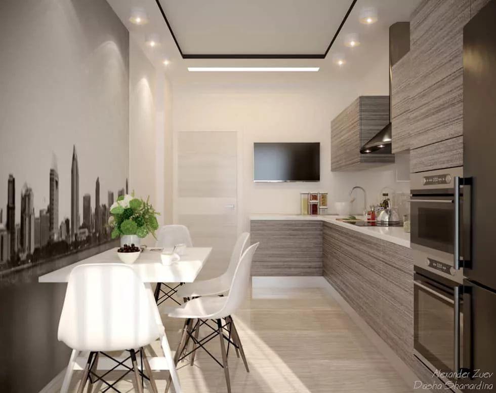 Угловая кухня с телевизором на стене фото