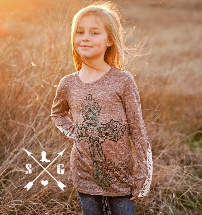 Kids God Is Love Long Sleeve With Lace Detail