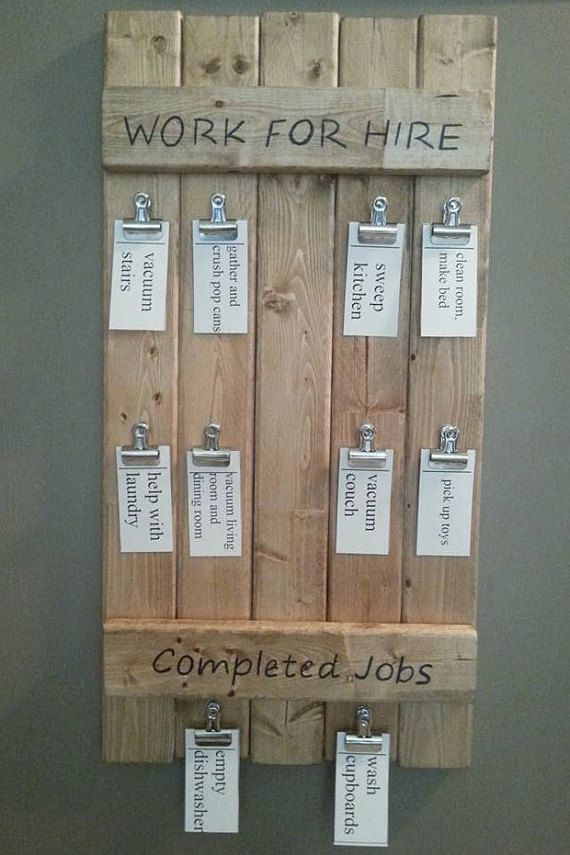 Wooden Work for Hire board / wood chore chart / wood chore board /  family chores / chore activity board