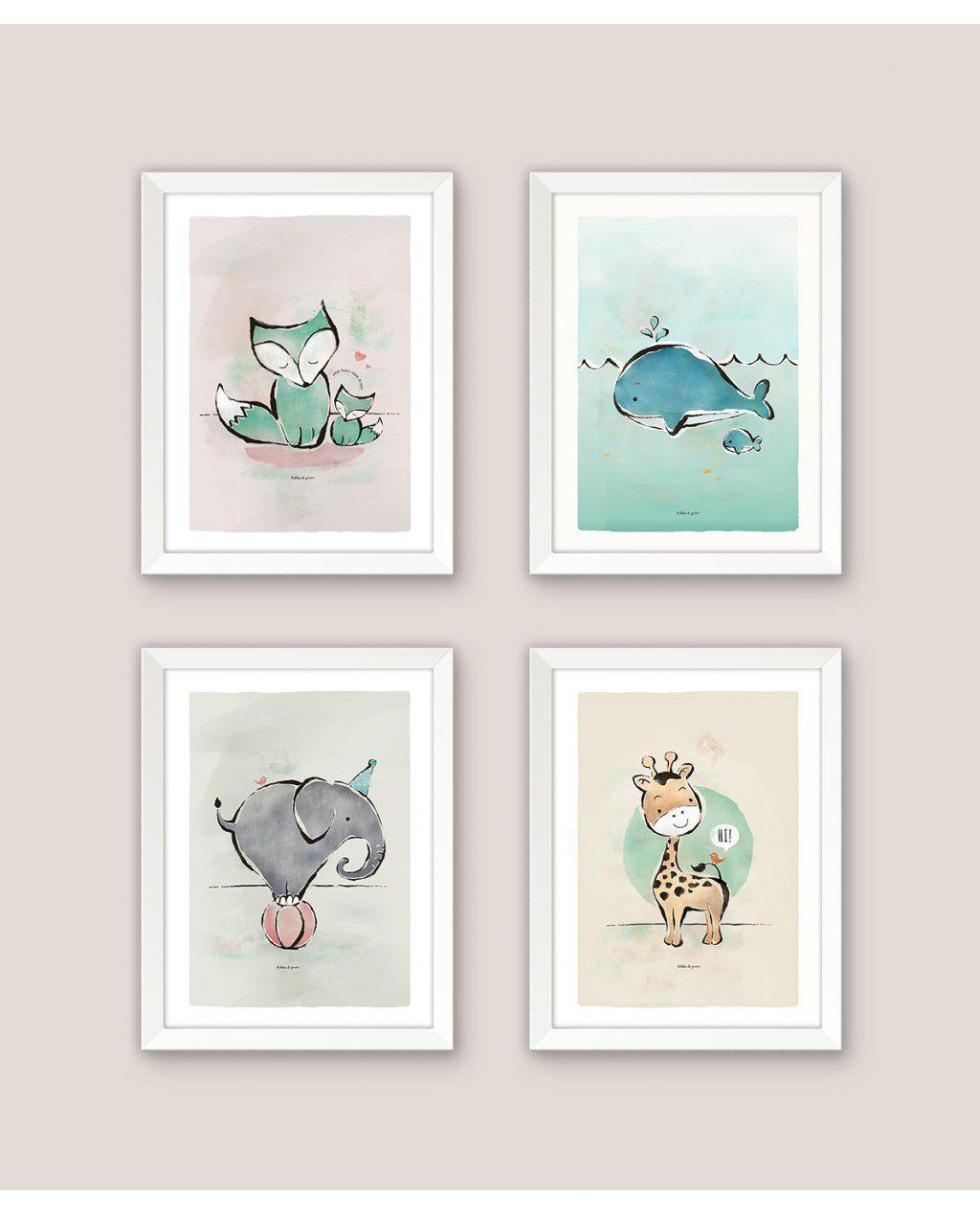 kinderkamer posters set van 4 #kinderkamer #poster #decoratie, Deco ideeën