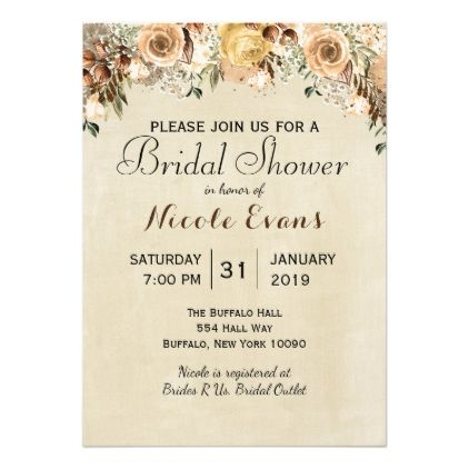 Rustic Beige Tan Floral Fall Winter Wedding Card wedding – Fall or Winter Theme Invitation Cards