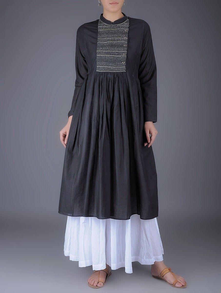 0ed0cb6c1d Buy Black Kantha Embroidered Mandarin Collar Gathered Cotton Kurta Women  Kurtas Online at Jaypore.com