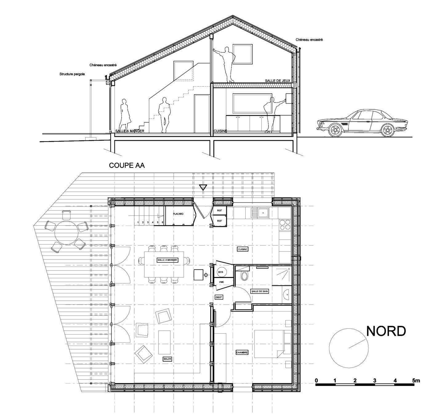 Entwurf für ein günstiges Wohnhaus als Open Source von Studiolada