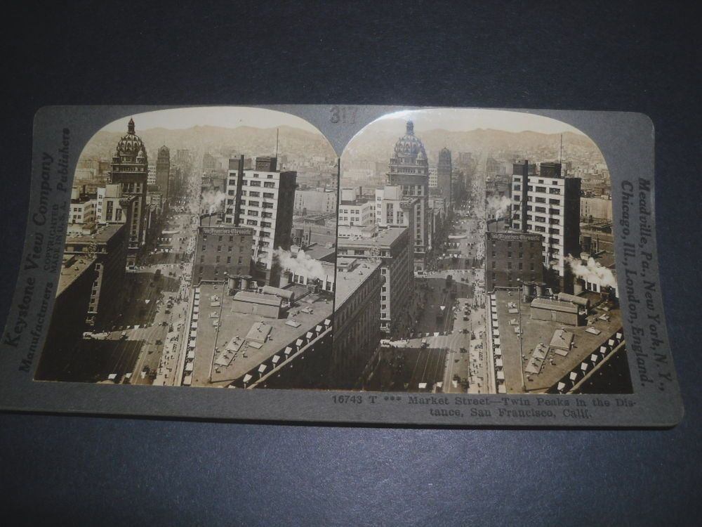 Stereoview MARKET STREET TWIN PEAKS IN THE DISTANCE SAN FRANCISCO CALIFORNIA