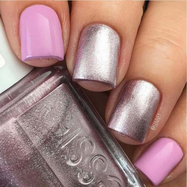 Pink and Metallic Nails for Elegant Nail Designs for Short Nails ...