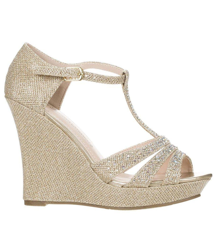 48a446569d8 DeBlossom Womens Dressy Glitter Rhinestone T Strap Platform Wedge Sandal  Aalle-2