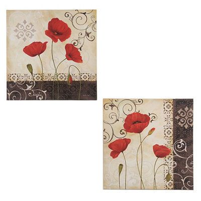 Vintage Red Poppies Canvas Art Prints Office Decor Canvas Art