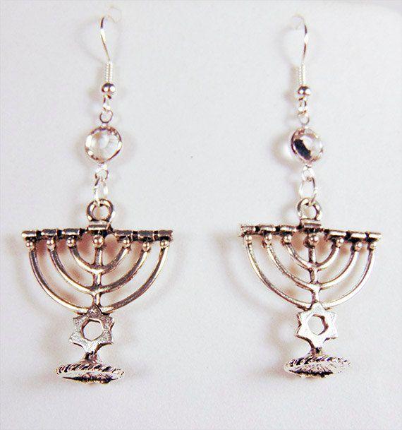 Menorah Earrings Jewelry Jewish Charm Clear Crystal Swarovski 1730c