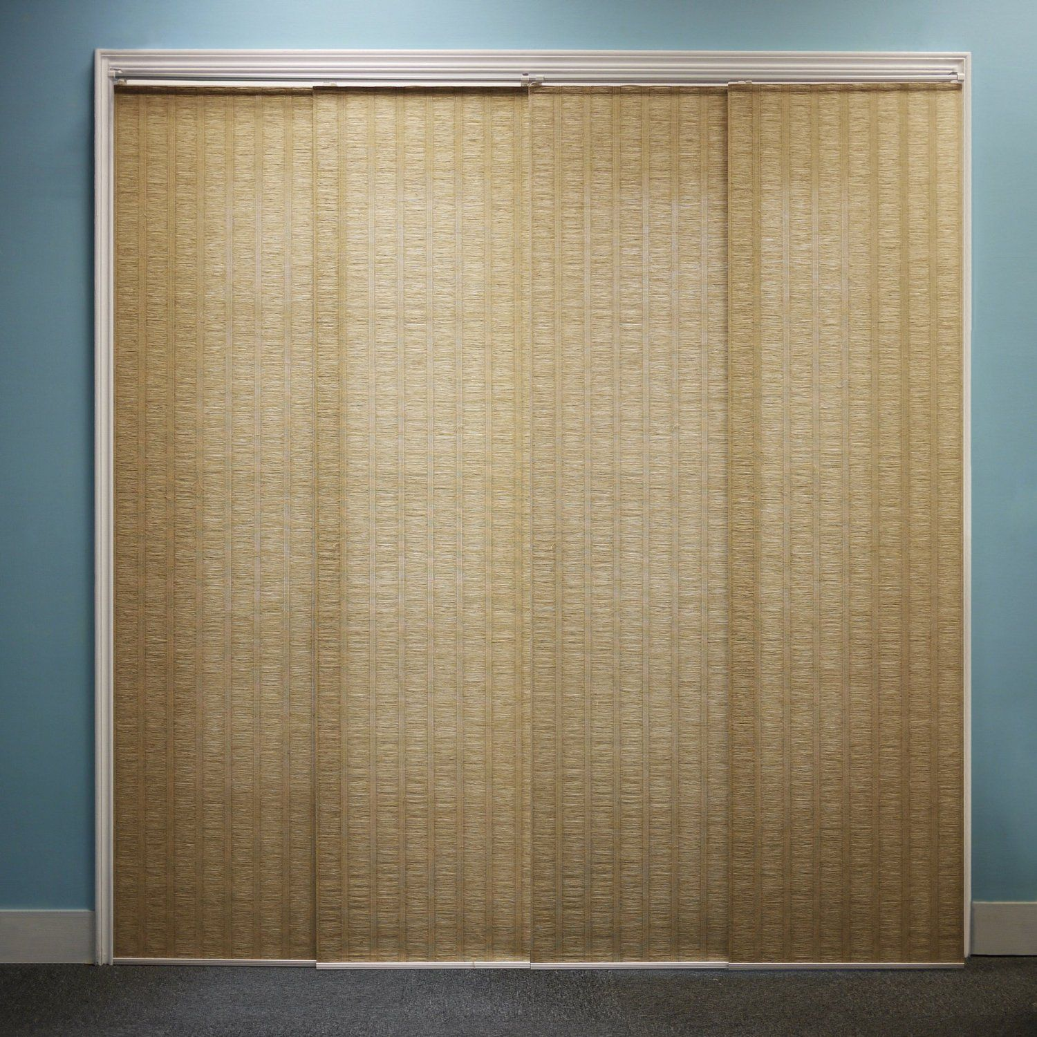 Ikea panel curtains for sliding glass doors - Cool Brown Sliding Glass Door Curtain With Blue Wall Paneling Color For Minimalist Home Decoration Ideas