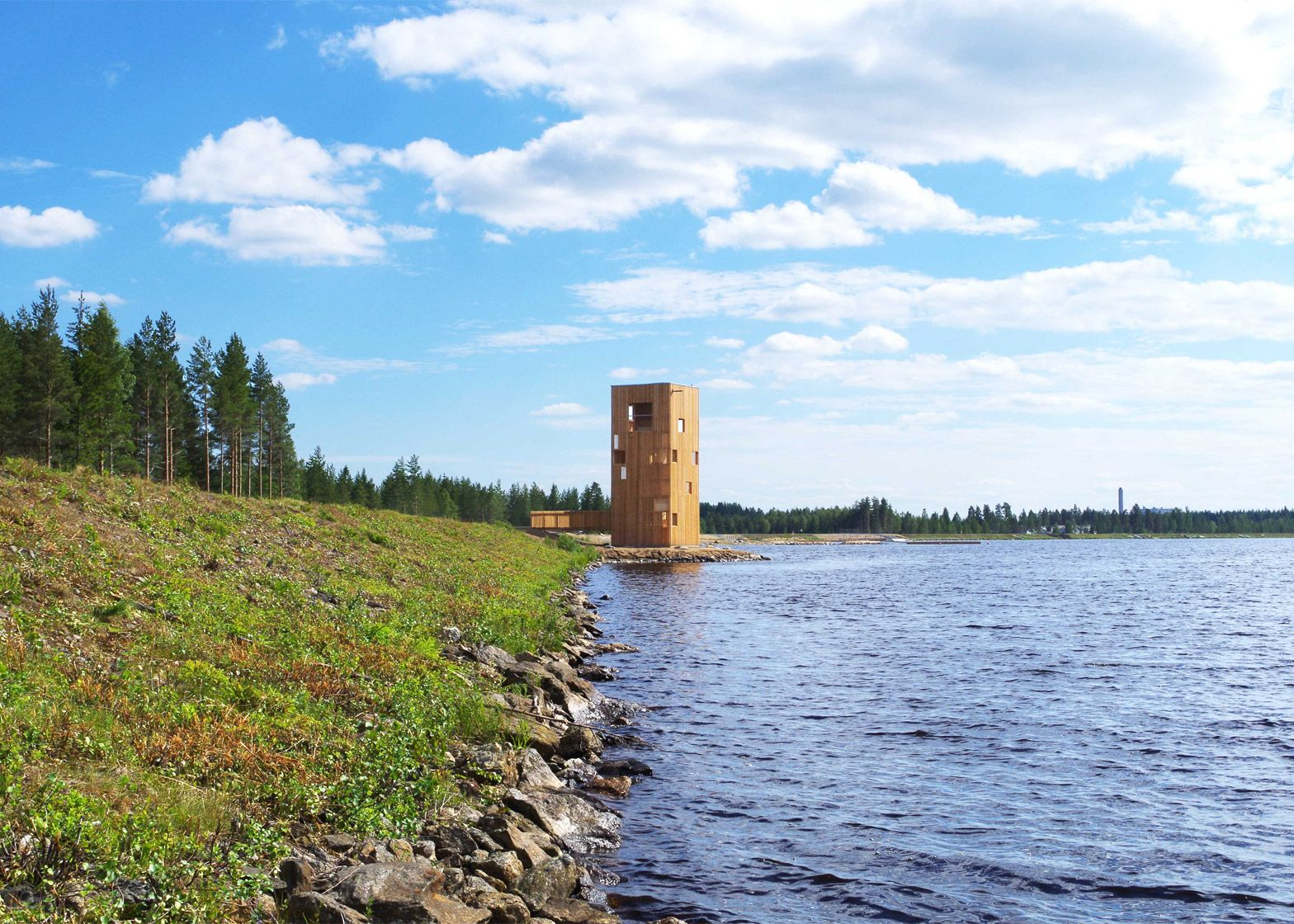 OOPEAA builds wooden Periscope Tower beside Finnish lake