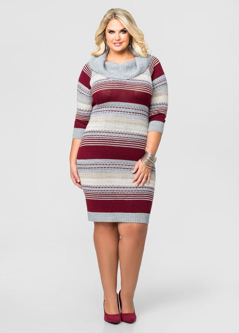daaf9d4bdba Multi Stripe Cowl Neck Sweater Dress Multi Stripe Cowl Neck Sweater ...