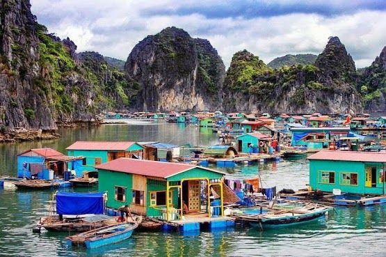 Floating village in Halong Bay near Cat Ba Island, Vietnam