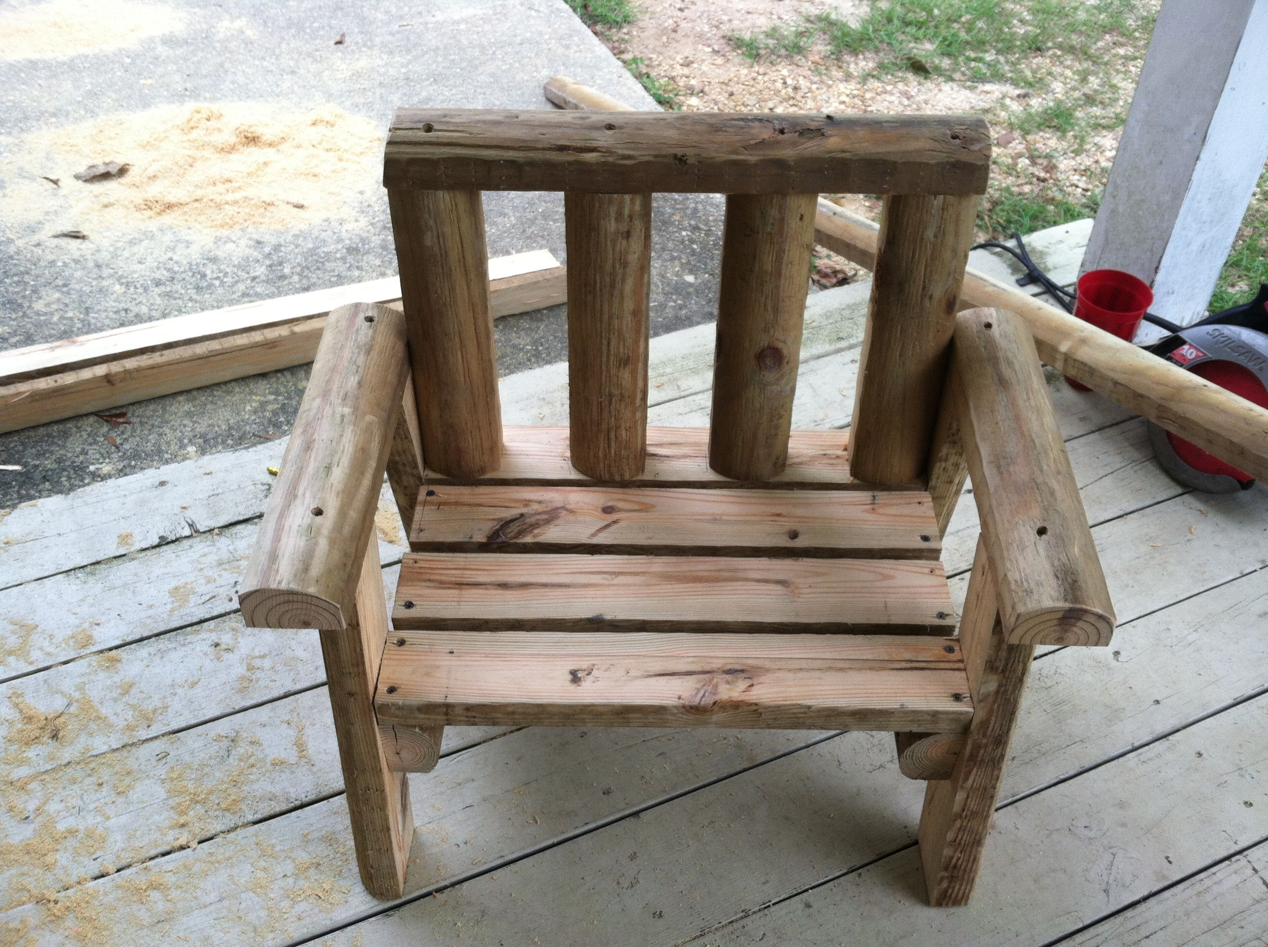 Childs chair made from landscape timbers outdoor for Landscape timber bench
