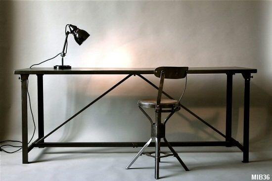 Table bureau industriel meuble de mtier Pinterest Bureaus