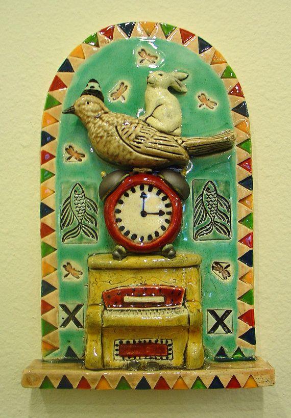 Ceramic Tile, Bird with Clock, Bunny and Piano   Clocks, Bird and Clay