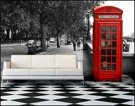 Red phone booth media cabinets travel themed wall murals