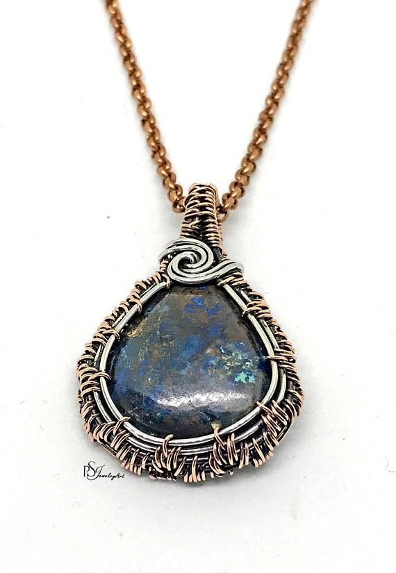 Azurite pendant wire wrapped silver wire pendant copper the best azurite pendant wire wrapped silver wire pendant copper mozeypictures Images