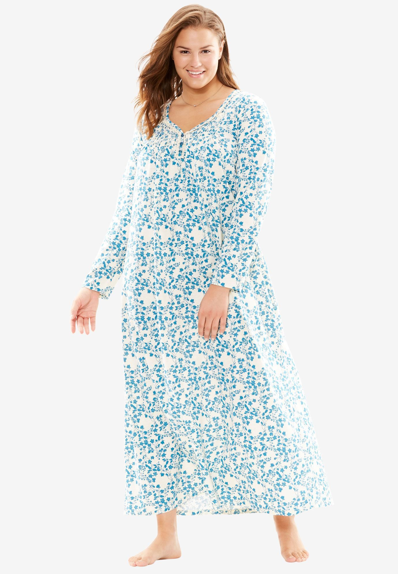 7fe0fd211edc6 Fit   Flare Sleep Gown - Women s Plus Size Clothing