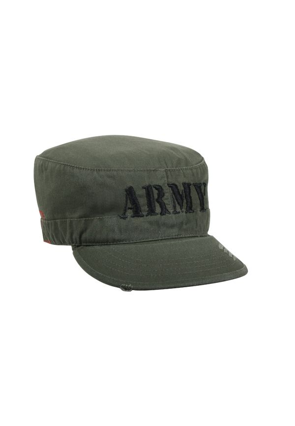 e7c8bd024be Olive Drab Army Vintage Military Embroidered Fatigue Cap Military Style