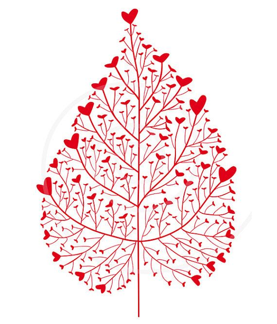 Red heart leaf mother's day birthday wedding by Illustree on Etsy, $5.00