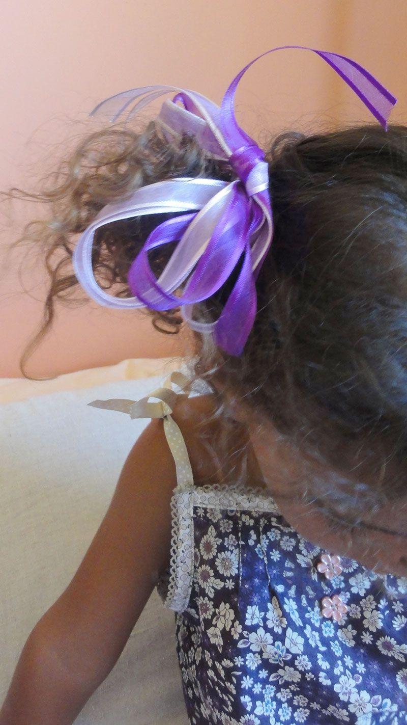 ruban couture organza violet pour petite fille, parure de