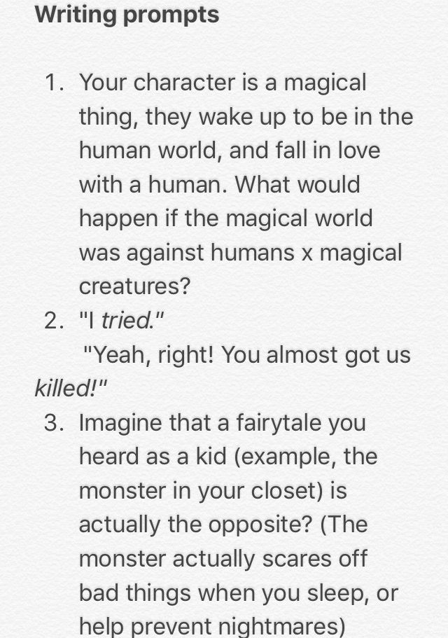 Some Writing Prompts I Made Feel Free To Use Them