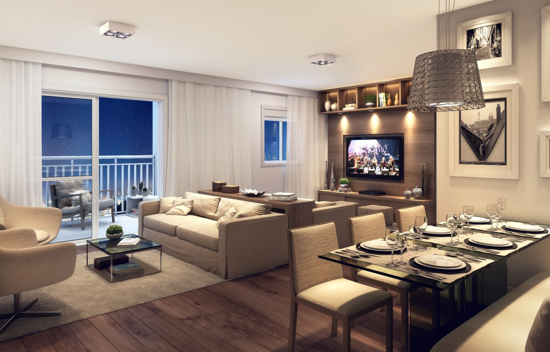 Perspectiva ilustrada do Living dos apartamentos de 67m².