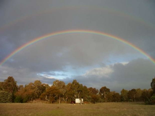 A beautiful double rainbow over our cute cabin www.mycutecabin.com