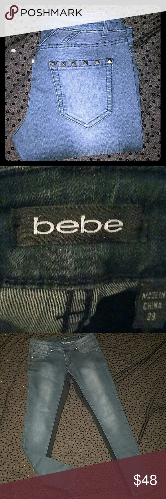 BEBE QUIN size 29 Studded pockets. Stretchy black material down inside legs. Bruiser wash. Rise 9 inseam 29. Skinny stretch ankle. 80% cotton 19% poly1% spandex.LIKE NEW EEUC. bebe Jeans Ankle & Cropped
