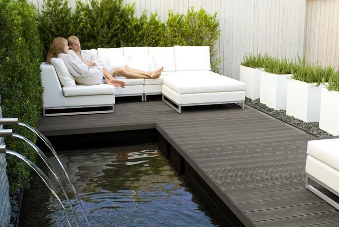 terrasse bois composite et galets Massage et sauna Pinterest
