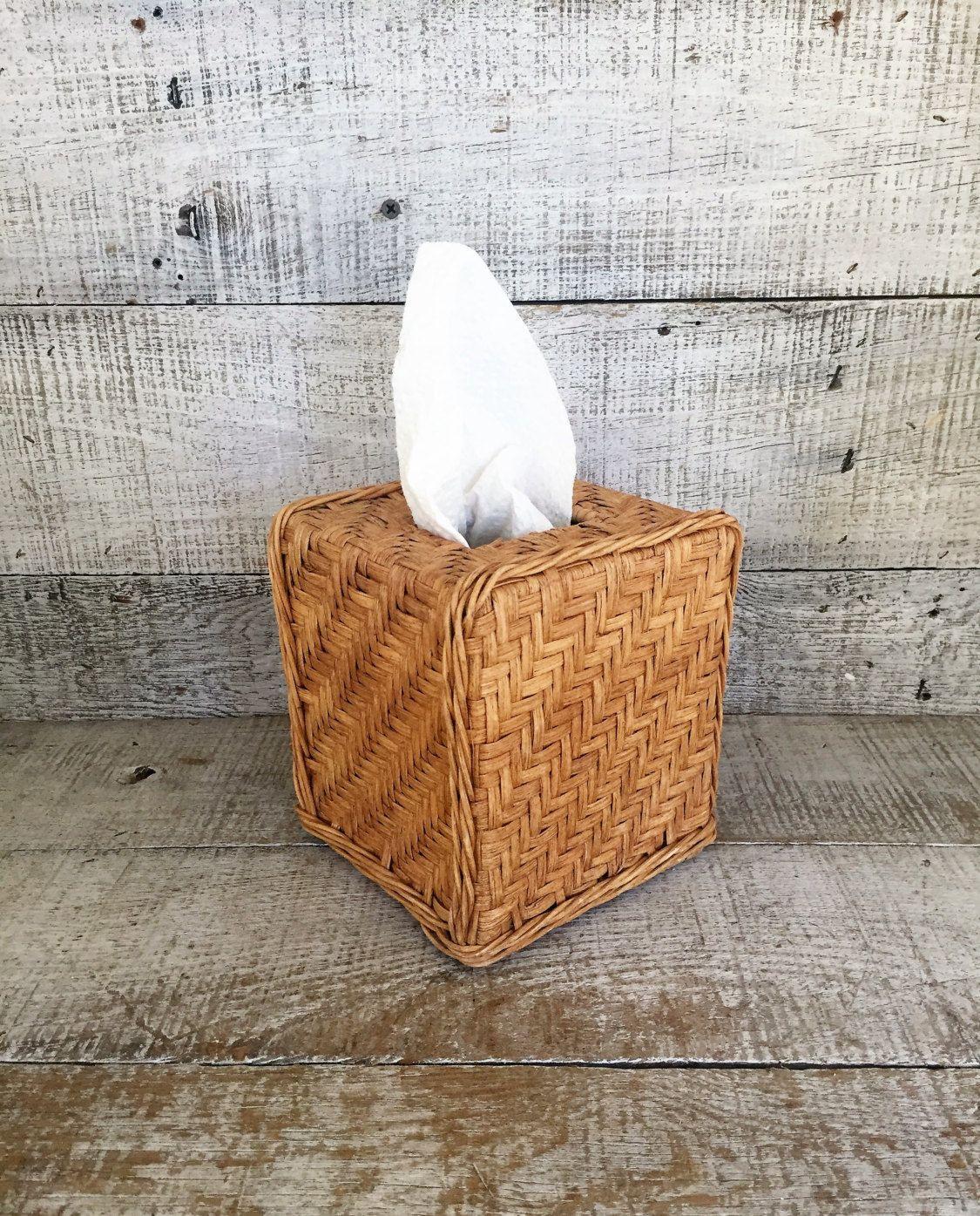 Decorative Tissue Box Cover Tissue Box Cover Tissue Box Holder Wicker Tissue Box Cover Vintage